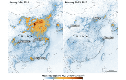 NO2 emissions over China in January and February 2020